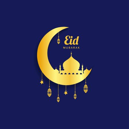Eid mubarak Islamic gold designs and pictures of mosques Illustration