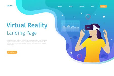 Virtual reality landing page template. This virtual reality can be used for websites, landing pages, UI, mobile applications, posters, banners Фото со стока - 128050192