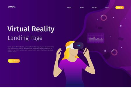 Virtual reality landing page template. This virtual reality can be used for websites, landing pages, UI, mobile applications, posters, banners Фото со стока - 128050193