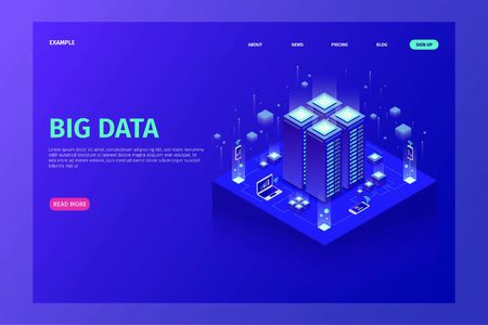 Home Page Website Template The concept of isometric data visualization with illustrations of servers that are connected to each other Фото со стока - 129170241