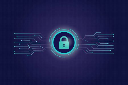 Cyber Security Data Protection with keys in the middle Illustration