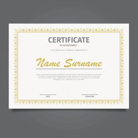 Design certificate classic gold background white