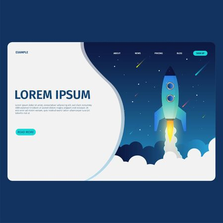 Landing page with rocket concept template Фото со стока - 128050198