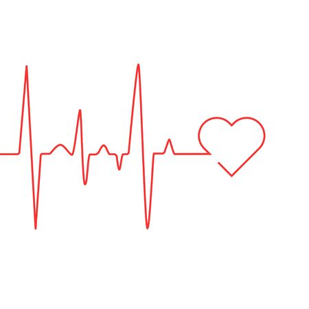 Heart rate cardiogram uses a red line with a white background and a love icon on the right Иллюстрация