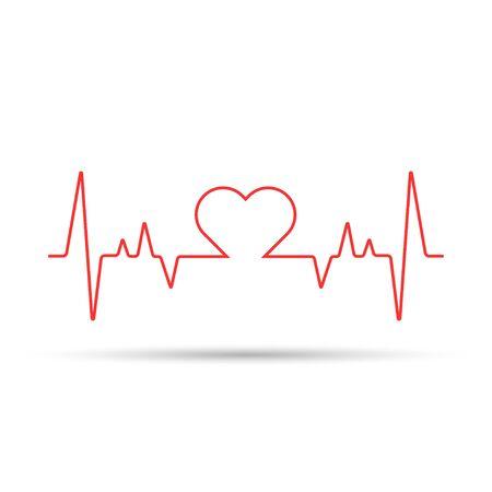 Hartslagcardiogram gebruikt een rode lijn met een witte achtergrond en een liefdespictogram in het midden