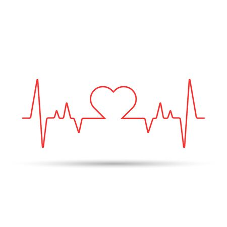 Heart rate cardiogram uses a red line with a white background and a love icon in the middle