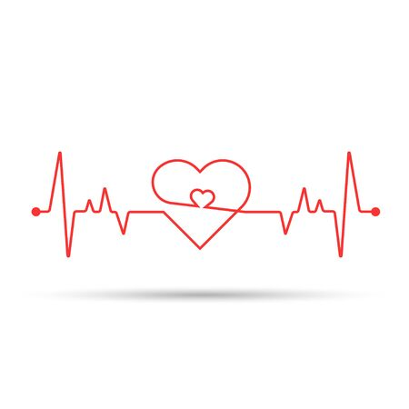 Heart rate cardiogram uses a white background and a red line Фото со стока - 128051002