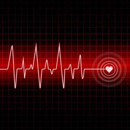 Heart rate cardiogram uses red and black with white and red lines Фото со стока - 128051008