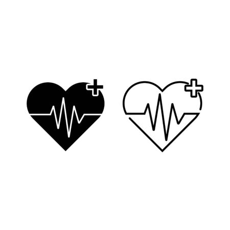 Two Heartbeat Icons Фото со стока - 128051014