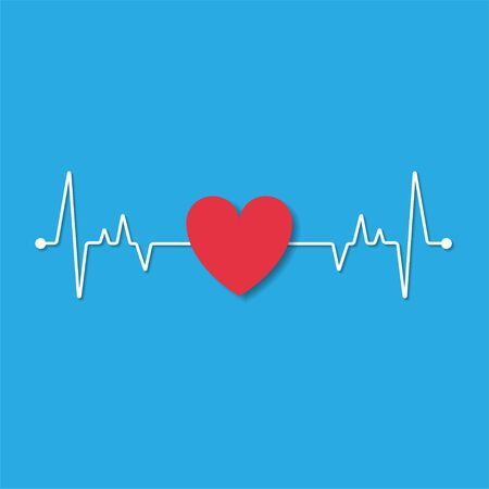 paper cut outline cardiogram heart with love icon