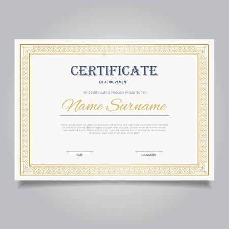 Elegant certificate template with vintage gold ornament frames Иллюстрация