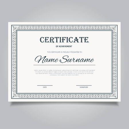 Elegant certificate template with vintage black ornament frames
