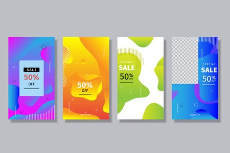 Collection of story templates for social media with splashes of wave fluid gradients