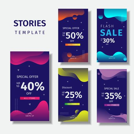 Collection of story templates for social media with splashes of wave fluid gradients Фото со стока - 129170349