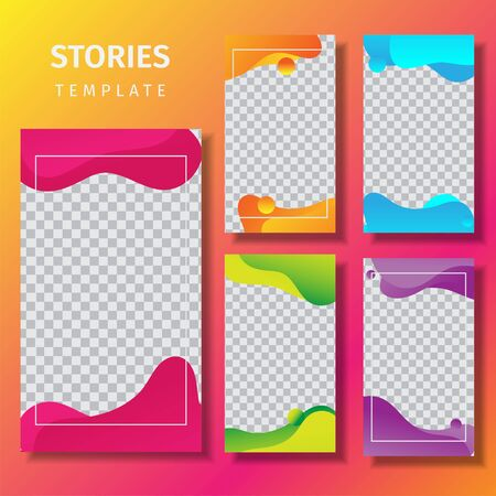Story template with colorful gradient liquid shapes. Promotion on Social Media on Mobile. Slide Up Button, Trendy Sales Poster