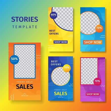 Collection of social media stories selling banner backgrounds, social media photo templates. Background for social media design