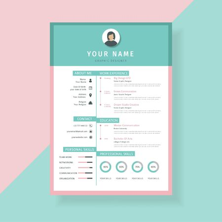 curriculum vitae template design, using a mixture of Tosca and pink colors Фото со стока - 129906319