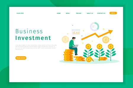 Business investment concept landing page illustration. someone works with a laptop. it is can be used for websites, landing pages, UI, mobile applications, posters, banners 向量圖像