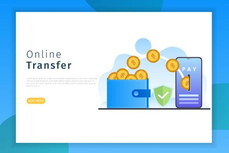 Online transfer concept landing page illustration. Online transfer design concepts with security can be used for websites, landing pages, UI, mobile applications, posters, banner