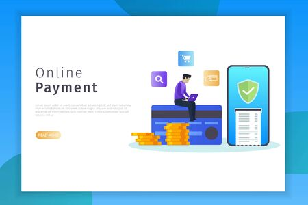 Online payment concept landing page illustration. Online payment design concepts with security can be used for websites, landing pages, UI, mobile applications, posters, banner Фото со стока - 132014971