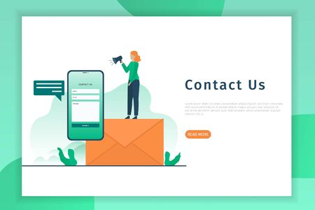 Contact us concept landing page illustration. Contact us concept design can be used for websites, landing pages, UI, mobile applications, posters, banner Фото со стока - 132015394