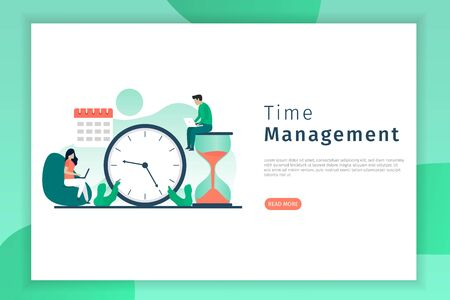 Productivity and time management concept illustration. Men and women sit working on their laptops. Landing page illustration for website.