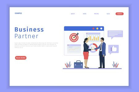 Business partnership landing page. Business partnership can be used for websites, landing pages, UI, mobile applications, posters, banner