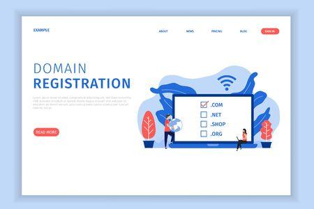 Illustrationskonzept für die Domainregistrierung mit der Vorlage für die Landingpage des Charakters