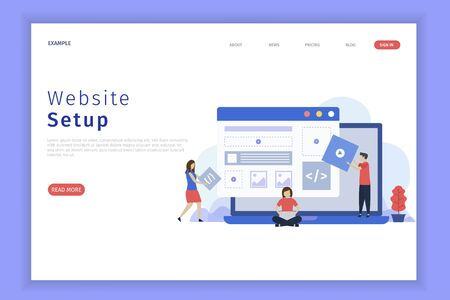 website setup illustration web page. This is great for websites, landing pages, mobile applications, posters, banners Иллюстрация