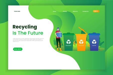 Sorting Trash for Recycle Landing Page.  This design can be used for websites, landing pages, UI, mobile applications, posters, banners