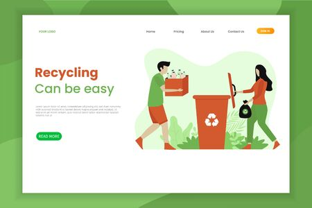Recycle soft plastic rubbish landing page. People throw trash into the trash box. This design can be used for websites, landing pages, UI, mobile applications, posters, banners