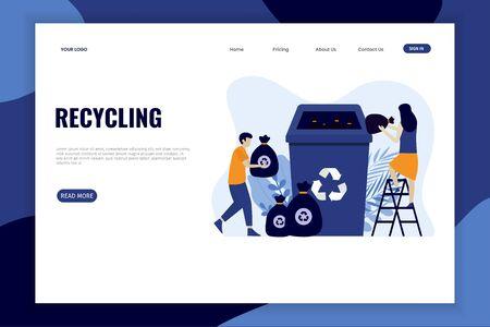 Landingpage für Weichplastikmüll recyceln. Dieses Design kann für Websites, Landing Pages, UI, mobile Anwendungen, Poster, Banner verwendet werden