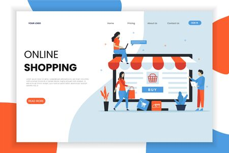 Online shopping landing page template. This design can be used for websites, landing pages, UI, mobile applications, posters, banners Иллюстрация