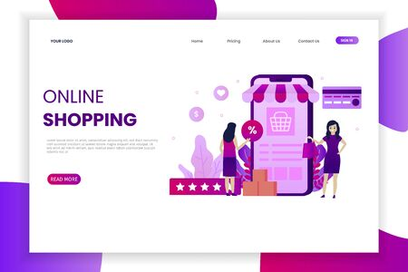 Modern flat design online shopping landing page. This design can be used for websites, landing pages, UI, mobile applications, posters, banners