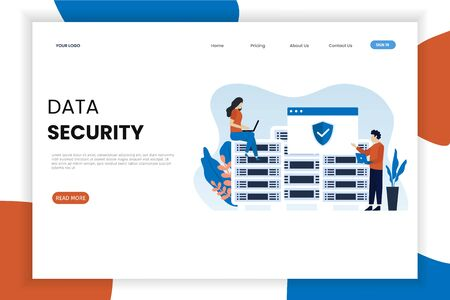 Data security website landing page template. This design can be used for websites, landing pages, UI, mobile applications, posters, banners