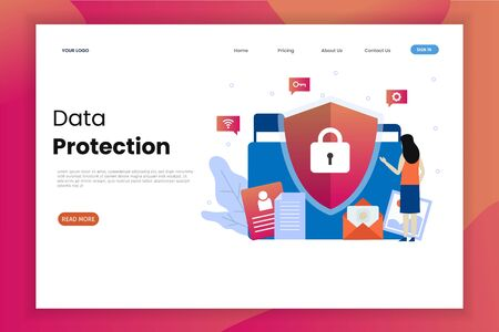 Data protection website landing page template. This design can be used for websites, landing pages, UI, mobile applications, posters, banners Иллюстрация