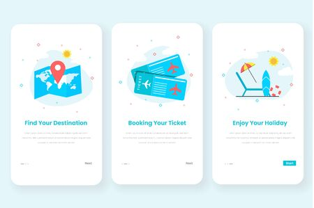 Travel onboarding screen user interface kit for mobile app templates concept. Modern flat design concept of web page design for mobile app and website Иллюстрация