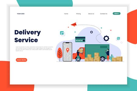 Online delivery service landing page with car box. This design can be used for websites, landing pages, UI, mobile applications, posters, banners