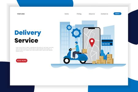 Delivery services flat vector illustration concept. This design can be used for websites, landing pages, UI, mobile applications, posters, banners