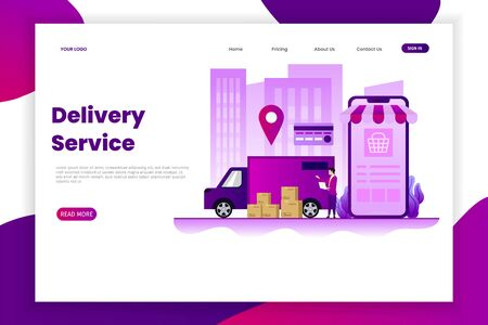 Package delivery service landing page. This design can be used for websites, landing pages, UI, mobile applications, posters, banners Иллюстрация