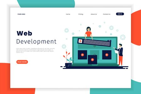 Website development landing page templates with people who work together. The design can be used for websites, landing pages, UI, mobile applications, posters, banners