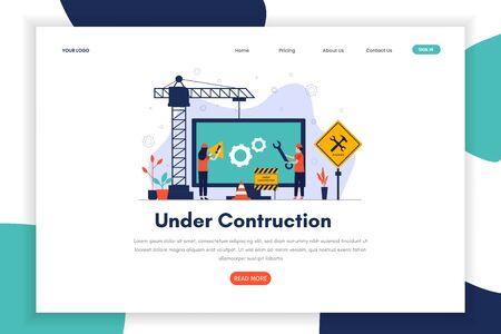 website under construction landing page. Under construction can be used for websites, landing pages, UI, mobile applications, posters, banner Иллюстрация