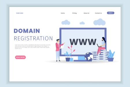 modern flat design concept template Domain name registration with characters Иллюстрация