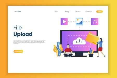 File upload illustration web page. This is great for websites, landing pages, mobile applications, posters, banners