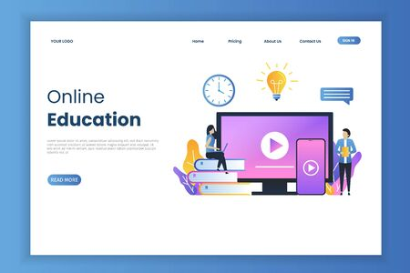 Online education concept for landing page. Online education design can be used for, landing pages, mobile applications, templates, UI, banners, webs