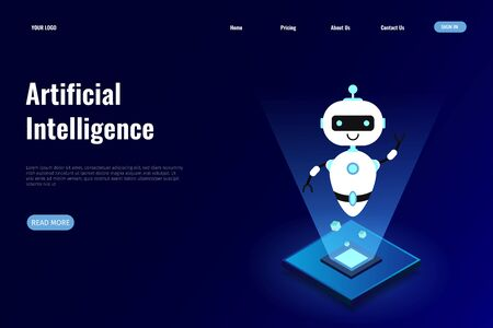 Artificial Intelligence (AI) concept for landing page. Artificial Intelligence design can be used for, landing pages, mobile applications, templates, UI, banners, webs