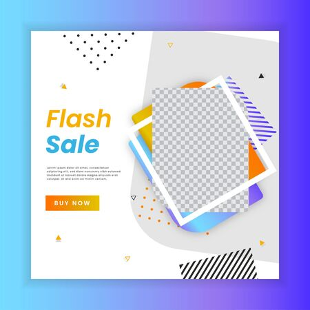 Flash sale for social media stories template. Social media template vector illustration. Promotion banner template