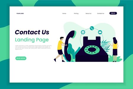 Call Center And Helpline Support, Contact Us Page. This design can be used for websites, landing pages, Ui, mobile applications, posters, banners