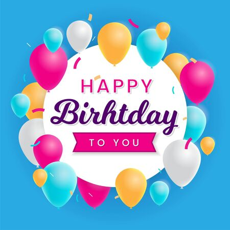 Happy Birthday Background Template with Illustrations of balloons. Greeting card design Иллюстрация