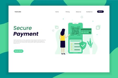 Online security payment landing page for business finance e commerce concept. website design template. The design is easy to edit and can be used for landing pages, UI, mobile applications, posters